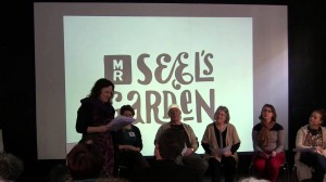 Eleanor reading  poems for 'Mr Seel's Gardens' in her role as associated poet. Bluecoat Arts Centre, 2012